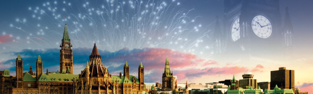 photo of fireworks on Parliament Hill, Ottawa ON
