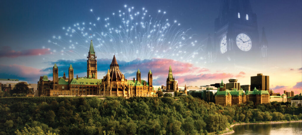 fireworks display outside of Parliament Hill, Ottawa, ON